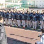 選抜大会出場が決まり、森監督から薫陶を受ける浦和学院ナイン=1月23日、浦和学院高校