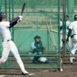 バッティングで最終調整する山崎滉太選手(左)=兵庫県西宮市で
