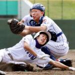 浦和学院-成徳大深谷 1回裏成徳大深谷1死満塁、吉田の左飛で三塁走者河田が本塁を狙うも、タッチアウト。捕手西野