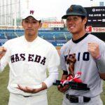 東京六大学野球秋季リーグ戦で首位打者に輝いた慶大の山本瑛大内野手(右)と最優秀防御率の早大・小島和哉投手=31日、神宮球場