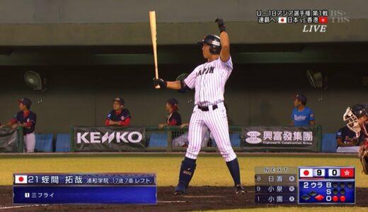 U18日本代表、香港に26点大勝発進 蛭間、7番レフトで先発出場