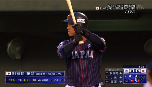 U18日本代表、台湾に1-3で敗れ決勝逃す 蛭間、6番レフトで先発出場